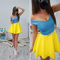 Женское шикарное платье с яркой юбкой-солнце (3 цвета) + пояс