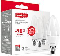 Набор LED ламп MAXUS C37 CL-F 4W яркий свет 220V E14 (по 3шт)