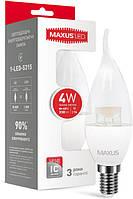 Светодиодная лампа MAXUS C37 CL-T 4W E14 3000К