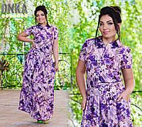 Платье батальное с карманами макси, в цветах № с 401  Гл
