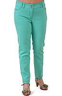 Бирюзовые брюки дудочки, ментол ,стрейч большие размеры , бр 001-4.