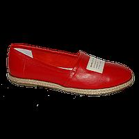 Женские модные кожаные эспадрильи ярко-красные