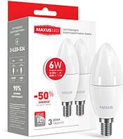 Набор LED ламп MAXUS C37 6W яркий свет 220V E14 (по 2шт)