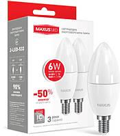 Набор LED ламп MAXUS C37 6W мягкий свет 220V E14 (по 2шт)