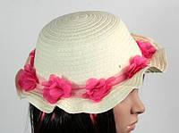Соломенная шляпа детская Флюе 26 см бело-розовая