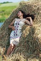 Платье с кружевом без рукавов лен вышивка