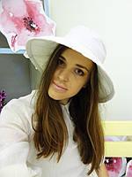 Белая льняная шляпка