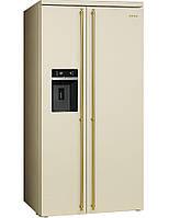 Smeg SBS8004P. Итальянский Side-by-Side кремовый, фурнитура позолоченная Класс энергопотребления А+ No-frost