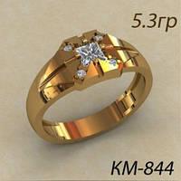 Классическая золотая Мужская печатка 585* с кубическим цирконием