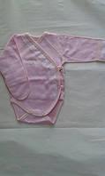 Боди закрытая ручка, на запах, розовый интерлок начес с кружевлм и стразами, рост 62