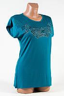 Женская футболка 46-48 синяя Цветы соты Н37/3