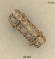Эффектное женское золотое кольцо 585 пробы на две фаланги с камнями