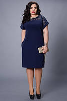 Стильное женское платье с гипюровой встакой