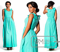 Яркое женское платье в пол однтонное без рукавов