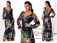 Женское шифоновое платье в пол с длинным рукавом в цветчный принт с открытой спиной