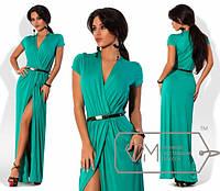 Летнее женское платье в пол на запах по пояс с коротким рукавом