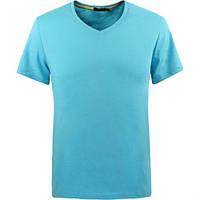 Мужские футболки однотонные с V-образным вырезом Glo-story. В остатке XL-желтый.