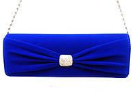 Женский клатч 6346 сумка вечерняя, клубная синяя, велюр