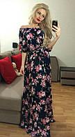 Женское летнее длинное платье цветочная крестьянка