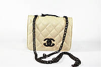 Сумка женская бежевая Chanel прямоугольная классическая на плечо