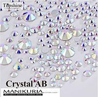 Стразы стекло, Mix размеры Crystal AB, 1000 шт, аналог Swarovski