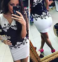 Женское платье Ромашка черно-белое