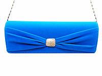 Женская сумка клатч 6346 вечерний велюровый голубой