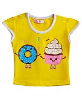 Детская футболка для девочки на кнопочке, рост 80