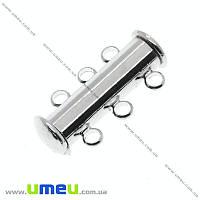 Магнитный замок-слайдер на 3 нити, Темное серебро, 21х10 мм, 1 шт (ZAM-006603)