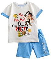 """Комплект """"Пираты"""" летний на мальчика футболка и шорты кулир, рост 116"""