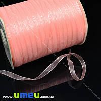 Лента из органзы, 6 мм, Розово-персиковая, 1 м (LEN-015774)