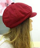 Льняная летняя кепка бордового цвета