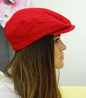 Красная летняя кепка из льна