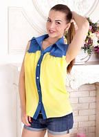 Молодежная женская рубашка без рукавов