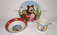 """Набор детской посуды керамика """"Маша и медведь"""""""