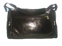 Небольшая дорожная сумка из натуральной кожи черный 4037