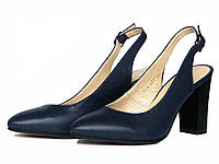 Синие кожаные закрытые босоножки на каблуке