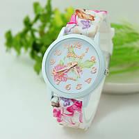 Женские часы силиконовые Geneva с розовым цветочным принтом