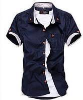 Мужская стильная рубашка с коротким рукавом черная