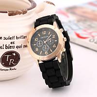 Женские часы силиконовые Geneva Luxury Gold Black черные