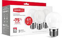 Набор LED ламп Maxus G45 F 4W мягкий свет 220V E27