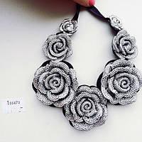 Колье женское Розы серебро, вечерние украшения