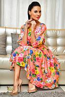 Платье женское цветы полу батал с поясом, фото 1