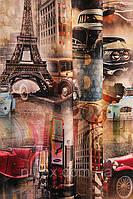 Портьеры (ткани для штор) принтованные. Рисунок: Будни великого города.