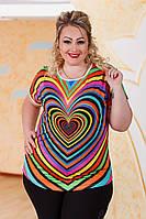 Летняя яркая женская футболка прилегающего фасона с принтом сердце масло батал Турция