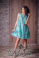 Бирюзовое платье с принтом плотный стрейч-шифон без подклада. Арт-5622/21