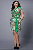 Стильное летнее платье-рубашка из штапеля больших размеров