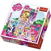 "Пазлы ""Hasbro.Маленькая пони. Рейнбоудеш и Флаттершай"" 34190 Trefl, микс 3 в 1"