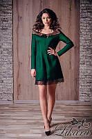 Модное зелёное платье+чёрная сетка, открытые плечи, . Арт-5626/21