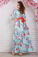 Нарядное длинное платье из шифона в голубом цвете в поясом на талии вырез-капля